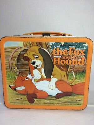 VINTAGE & RARE WALT DISNEY THE FOX AND THE HOUND METAL LUNCHBOX 50's.