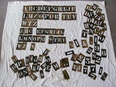 Large Job Lot Of Antique Brass Stencil Letters & Numbers Inc Brush With Tin.