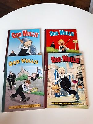 Oor wullie books x 4 Annuals 1980 1984 2002 and 2017