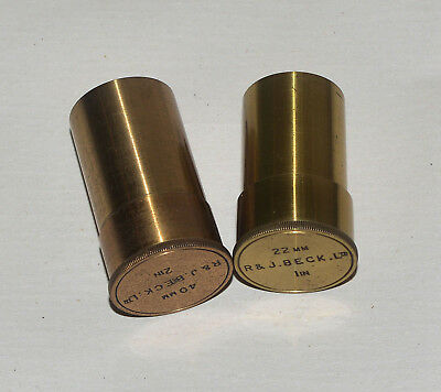 2 x empty brass canisters for beck brass microscope objective.