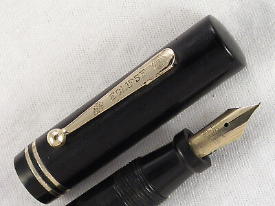 "Vintage Huge Chased Black Flat Top ""eclipse"" Fountain Pen  ~ Flex Nib ~ Restored"