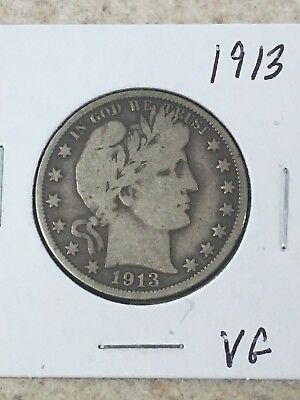 1913 P Barber Half Dollar Full Rims Vg
