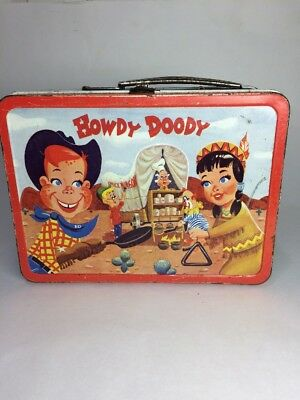 Vintage 1950s 1954 Metal Howdy Doody Adco Liberty Lunchbox with out Thermos