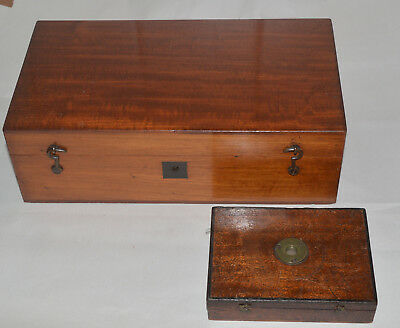 2 x microscope cases. Gould type box, mahogany case for Spencer, Dublin.