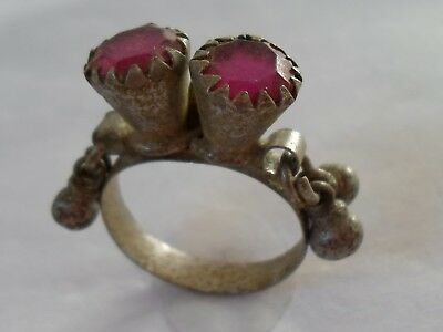 Christmas Gifts,detector Find,late Medieval Silver Ring With Glass/stones