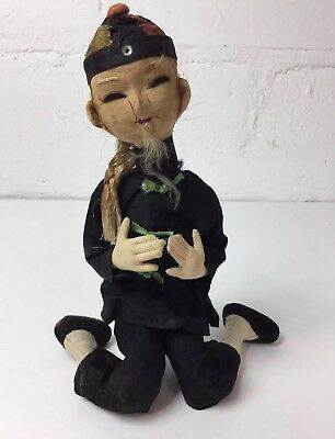 Unusual Antique Vintage Chinese Man Doll Silk Bendable W/folk Costume Asian