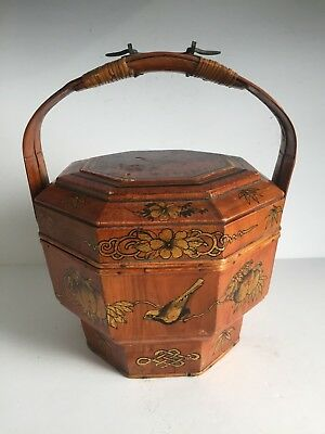 Antique Chinese Octagonal Wood Rattan Wedding Basket Metal Signed Gold Gilt