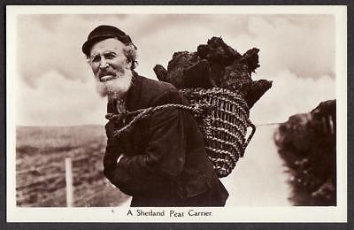 REAL PHOTO POSTCARD PEAT CARRIER SHETLAND ISLANDS SCOTLAND c1925