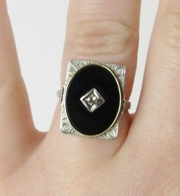 Vintage Art Deco fancy white & yellow A & S 10k  gold diamond ring sz 6