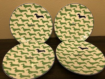 Kate Spade Lenox Set 4 Wickford Dachshund Green 9 In Accent Plates Salad Plates