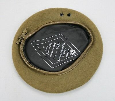 1951 Canadian Forces Army Military OD Beret Korean War • Size 7½