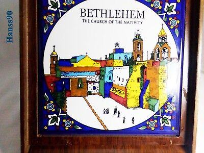 Antique Religious Porcelain Hand Painted Plaque on Marble of Bethlehem Church