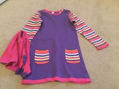 Purple Striped Dress And Tights Age 3-4 Years