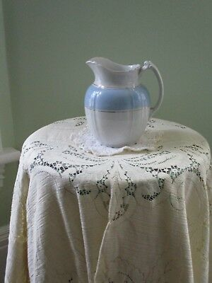 Antique Royal Patent Ironstone Wood & Son England Small Blue & White Pitcher