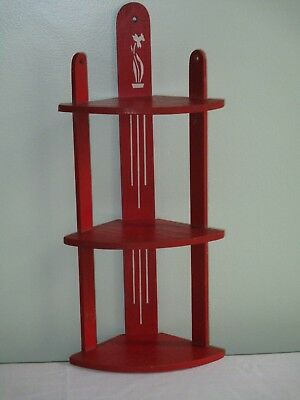 Vintage 1950's 3 Tier Red Wooden Corner  Shelf  White Floral/Stripe Stencil