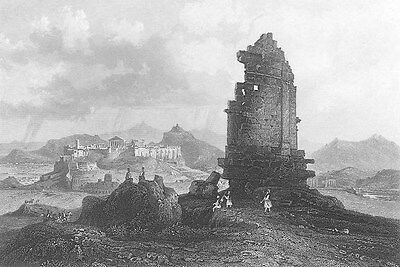 ATHENS Greece Mouseion Muse Hill PHILOPAPPU MONUMENT ~ 1841 Art Print Engraving