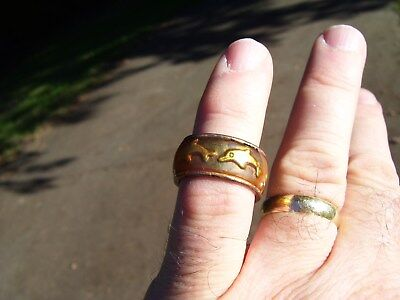Vintage pinky - toe ring Dolphins size 7 men womens brass - copper old costume