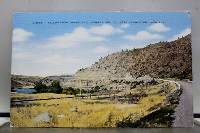 Montana MT Livingston Yellowstone River Highway 10 Postcard Old Vintage Card PC