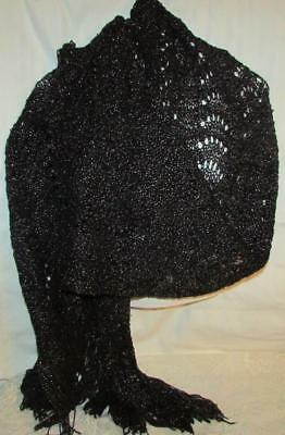Reproduction Victorian / Civil War Mourning Shawl Crocheted Black, Silver Thread
