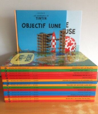 **NEW** Set of 17 NEW French Edition Tintin Books by Herge inc Objectif Lune Hb