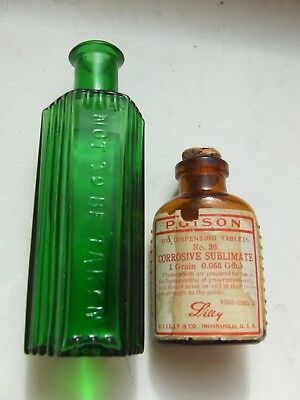 Lot of (2) old poison bottles - one with label....
