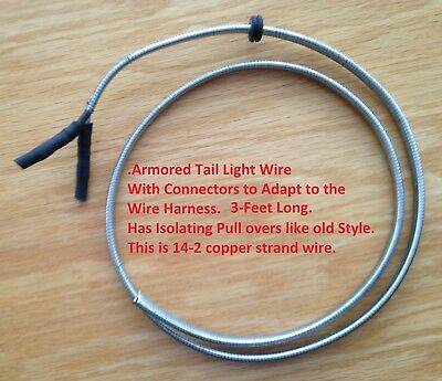 "1940 to 1953 Indian Motorcycle Armored Taillight Wire 14ga. 36""long"