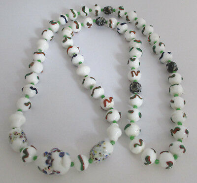 Vintage Milk Glass Lampwork Bead Necklace