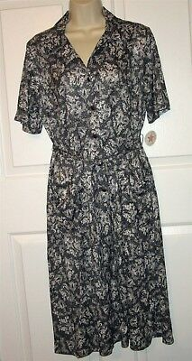 Vtg NWT Carolina Maid Shirtwaist 50's Style Dress size 14 1/2 B&W print belt
