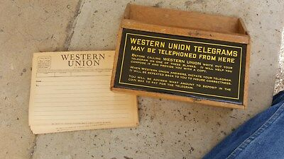 old Western Union Telegram Store Counter Display w Telegram Forms,,Sign on Front