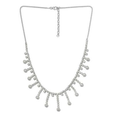 TJC White Diamond Collar Necklace Platinum Plated Sterling Silver 18 Inches