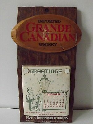 Vintage Grande Canadian Whisky Wood Wall Plaque And Calendar 1973-1974