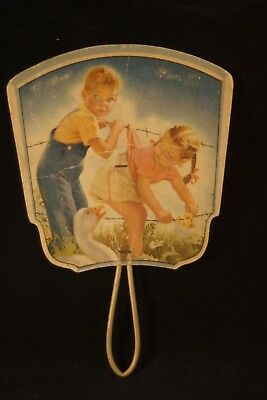 Vtg Hand-Held Fan Advertising Schoppenhorst Mortuary & Funeral Home Clay City IN