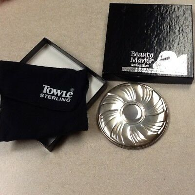 Vintage Towle Sterling Silver Round Repousse Compact Mirror + Pouch Box No Mono