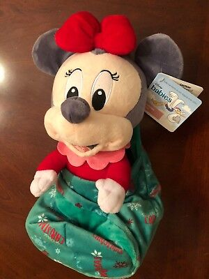 """Disney Babies Christmas Minnie Plush with Blanket Pouch 10"""" New 2018"""