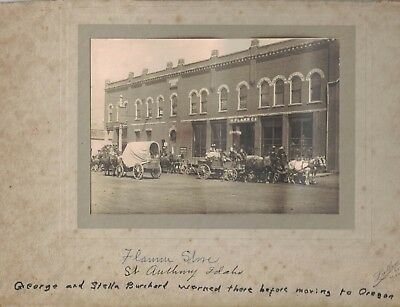 Original 1912 H. Flamm, Co. Building Cabinet Photo, in St. Anthony, Idaho -Named