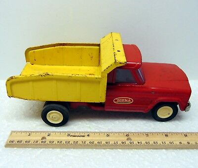 Vintage Large Metal Tonka Toy Jeep Dump Truck 9 Inches Long