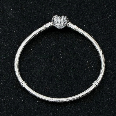 Fashion 925 Silver Zircon Heart Bangle With European Charm Bracelet Fit Women