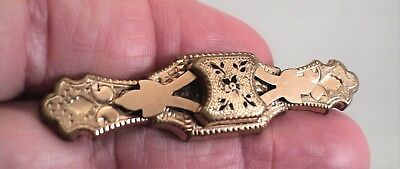 """Vintage ART DECO BROOCH 2.25"""" Geometric Detailed Layered Gold-Plated - Estate"""