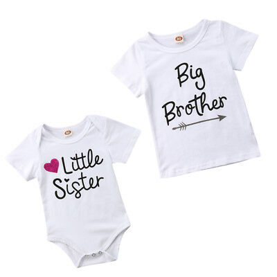 US Stock Lovely Little Sister Romper Big Brother T-Shirt Cotton Clothes Outfits