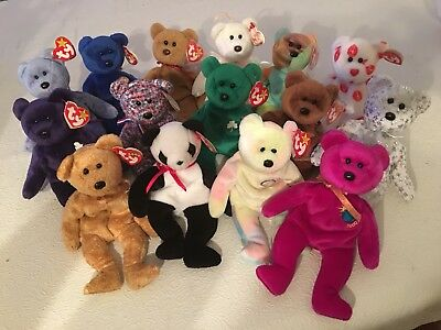 Lot of 15 Authentic/Rare/Retired Beanie Babies 1993-2000, Princess Diana, Peace
