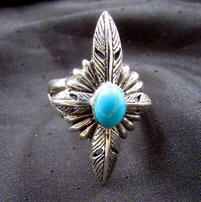 Vintage Sterling Silver Turquoise Ring Adjustable from Size 8 1/2 2B