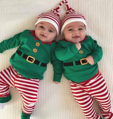 UK XMAS Newborn Baby Girl Boy Elf Rompers Pants Hat 3pcs Outfits Set Clothes