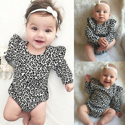 UK STOCK Baby Romper Leopard Print Cotton Bodysuit Newborn Toddler Baby Girls