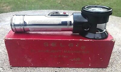 Vintage NOS Selsi #406 Flashlight Magnifier 5x 47mm Made In Japan w/ Box