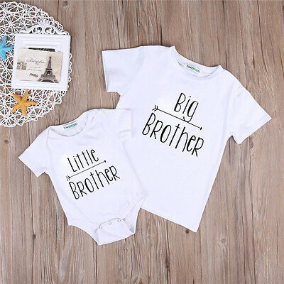 UK Infant Baby Boy Big/Little Brother T Shirt Romper Bodysuit Outfit Clothes wqe