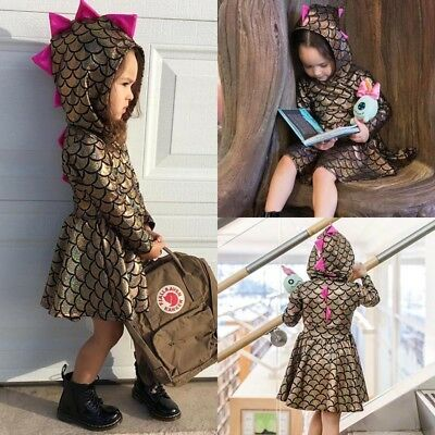 UK Toddler Kid Baby Girl Hooded Dinosaur Party Pageant Scales Gown Dress Costume