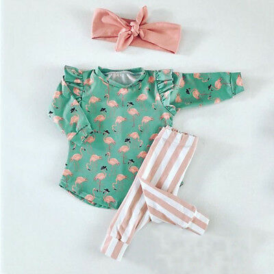 UK Toddler Kids Baby Girls Flamingo T-shirt Tops Striped Pants Outfits Clothes