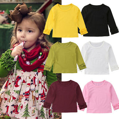 Toddler Kids Baby Girl Fashion Puff Long Sleeve Tops Clothes T-shirt Tee Tops UK