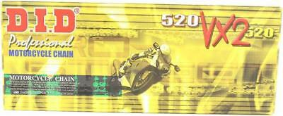 DID 520 VX2 Pro-Street X-Ring Chain 120 Links Gold #520VX2G120FB for Motorcycles