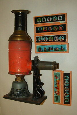 1800s OR EARLY 1900s MAGIC LANTERN PROJECTOR WITH SEVERAL GLASS SLIDES